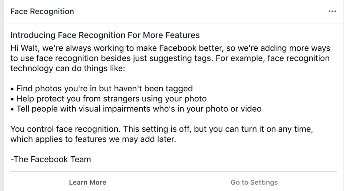 Facbook Facial Recognition post